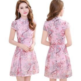 ファッション レディースオーガンザCheongsamワンピーススカート (S)