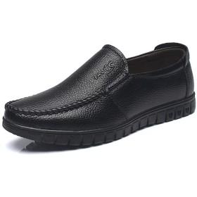 [CAIXINGYI] 夏 メンズ 通気性 真皮 サンダル レジャー 透かし彫り パパ靴 革靴 24-27 cm 中高年 老人靴 ファッション 男靴 (26cm, ブラック2)