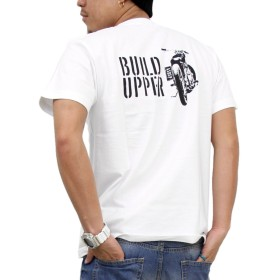 (アスナディスペック)ASNADISPEC tシャツ メンズ 大きいサイズ ティシャツ 半袖Tシャツ バイク イラスト ロゴ logo ストリート 柄 ブランド プリント t-シャツ asst2216 (M, WHITE)
