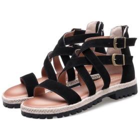 Fashion maker(F&M)サンダル レデイース 美脚 カジュアル ストラップ ベルト 歩きやすい かわいい フラット ローヒール 疲れにくい ファスナー 履きやすい 黒 スエード調 (25(FR40), ブラック)