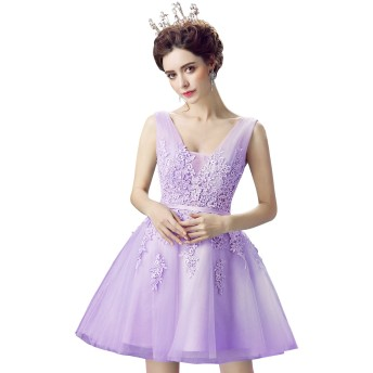 Babyonlinedress(ベビーオンラインドレス) パーティードレス ロングドレス 8色展開 イブニングドレス カクテルドレス ドレス ワンピース お呼ばれ 結婚式 二次会 ブライズメイド レディース パープル Mサイズ