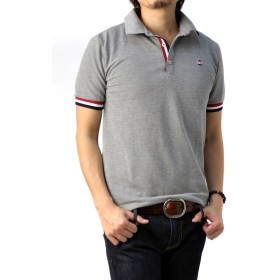 (フラグオンクルー) FLAG ON CREW メンズ 衿裏 カラー配色 スタンドカラー ポロシャツ / A5Q / 3L 杢グレー・mixgray