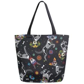 トートバッグ ハロウィン 猫 キャンバスバッグ レディース 大容量 2way 帆布 サブバッグ 多機能バッグ