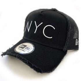 NEWERA(ニューエラ)9FORTY NYC メッシュキャップ Dフレーム トラッカー ダメージ加工(11404671)ブラック