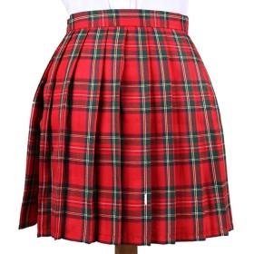 Phoenix's Shop プリーツスカート ミニ 丈40cm レディース 女の子 カワイイ フリフリ 制服スカート ゆらゆら 無地 快適 カジュアル きれい オフィス 学生 ハイウエスト 美脚 (L, 赤-緑(チェック柄))