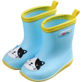 [HIMOE] レインシューズ 子供用 アニマルレインブーツ 雨靴 女の子 男の子 男女兼用 小学生 キッズ 可愛い長靴 軽量(19cm,ブルー・猫)