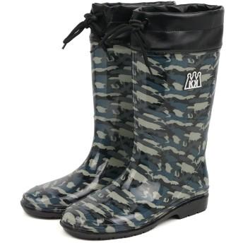 [セレブル] (カンサイキッズ) KANSAI KIDS フード付き レインブーツ キッズ ジュニア 子供靴 男の子 長靴 雨靴 迷彩 山本寛斎 ブラック 20cm
