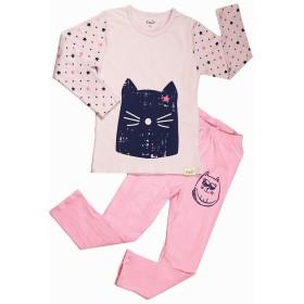子供パジャマコットンガールズパジャマ、ピンク長袖パンツ青い猫の顔のパターン、上下2点セット秋ホームサービス可愛い簡約女の子ラウンジウェア