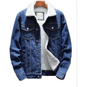 (フッカツ) メンズ ゆったり カジュアル デニムジャケット バイク ジージャン 裏ボア 厚手 大きいサイズ 刺繍 通勤 ユニセックス 秋冬 ライトブルーL