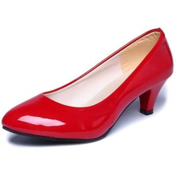 [Yikaifei] パンプス レディース ローヒール ベーシックパンプス 痛くなりにくい美脚 安定して歩きやすい ビジネス プレーン 歩きやすい 就職の面接 結婚式 靴擦れ防止 ふわふわ レザー 女性用 レッド 23.5cm