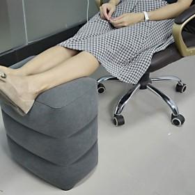 フットレスト 足枕 空気入れ付き エアー クッション 足置き 3段階の高さ調節 飛行機 車 オフィス エコノミー症候群対策 旅行用便利グッズ