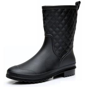 [フェニックス ショップ] おしゃれ レディース 長靴 レインブーツ オシャレ レインシューズ 防水 防滑 ロングブーツ 美脚 歩きやすい 雨靴 梅雨対策 23cm-25.5cm 大きいサイズ (24.0cm, ブラック)