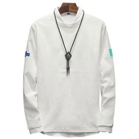 [sweet bell] Tシャツ メンズ 長袖 ロンT カットソー パーカー トップス カジュアル マリン ボーダー ロゴ ホワイト 白 大きいサイズ 6L 5XL dea088-t634p35-w-5XL