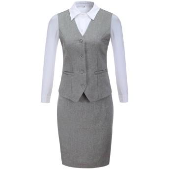 激情女郎 olスーツ スカートスーツ リクルートスーツ レディース セット ビジネス 就活スーツ ベスト パンツ グレー(ベスト+シャツ+スカート) 日本サイズM-1/タグサイズL