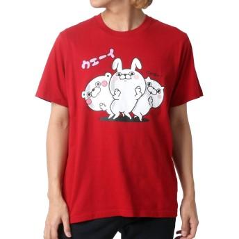 [ヨッシースタンプ] Tシャツ プリント 半袖 メンズ 柄2:(ボディ:レッド/プリント:ウエーイ) L:(身丈69cm 肩幅43cm 身幅52cm 袖丈24cm)