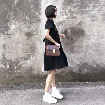 『送料無料』 2019夏新入荷 超高品質販売 韓国ファッション CHIC気質 大きいサイズ 夏 新品 中・長セクション 縫付 ドレス