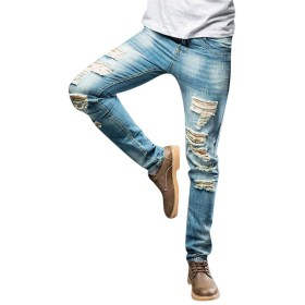 ダメージジーパン メンズ ジーンズ Fortan ジーパン ベーシック ストレート フィット デニムパンツ 薄手 カジュアル 男性 秋冬着 ロング丈 通気性 デニム生地 ロングパンツ タイト 大きいサイズ 薄いブルー