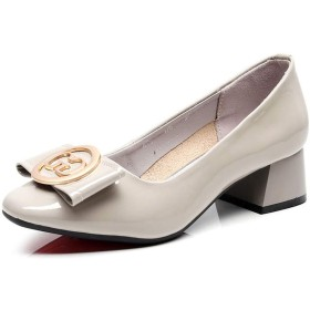 [LANSEL] 女性の浅い口ラウンドヘッドスモールシューズとシングルシューズ春と秋の厚い野生の女性の靴 (色 : ベージュ, サイズ さいず : 38)