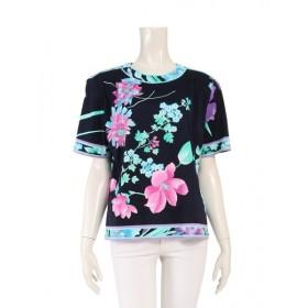 レオナールファッション LEONARD FASHION カットソー 花柄 ネイビー 水色 ピンク 0359606 レディース 中古