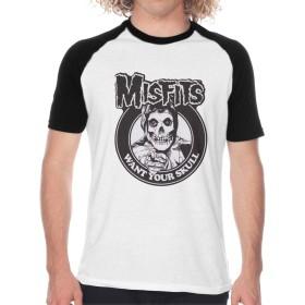 Misfits Skull ミスフィッツ スカル らぐらん メンズ 無地 半袖 丸首 Tシャツ シンプル 春 夏 秋 おしゃれ カジュアル 柔らかい 快適 S~2XL