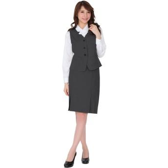 (ブティックユリア) Boutique Yuria 汚れにも強い事務服 ベストスーツ グレー 15号