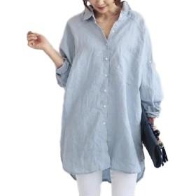 (ゴラッソ)GOLAZO きれいめ 綿麻 バックボタン ゆるロングシャツ レディース F110 青 L