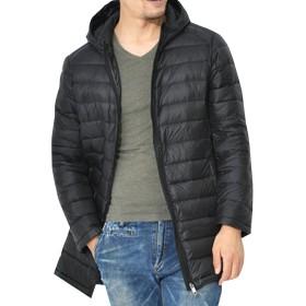 (ネルロッソ) NERLosso ダウンコート メンズ フード パーカ ロング ビジネス 軽量 スーツ 防寒 スポーツ サッカー ベンチ ゆったり カジュアル 正規品 L ブラック cml2494-L-bl