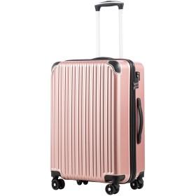 [クールライフ] COOLIFE スーツケース キャリーバッグダブルキャスター 二年安心保証 機内持込 ファスナー式 人気色 超軽量 TSAローク (L サイズ(28in), ローズゴールド)