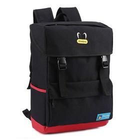 S-BBG リュックサック デイパック ボックス型バックパック 大容量 スクエア 四角 男女兼用 通学 旅行 アウトドア ブラック
