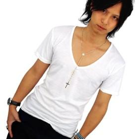 深Vネック 半袖 Tシャツ メンズ ホワイト 細身 タイト f151 L