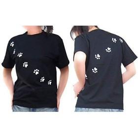 福猫シリーズ ネコの足跡Tシャツ 肉球Tシャツ ユニセックス 半袖 Lサイズ ブラック