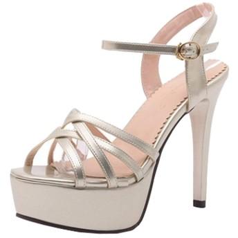 [Ywnz-eight] オープントゥサンダル 22.0cm~26.5cm ハイヒール ピンヒール サンダル レディース 前厚 ハイヒール サンダル 歩きやすい ピンヒール 痛くない 結婚式 大きいサイズ 靴 ヒール約11cm 就活 靴 通勤 婦人靴 (23.0cm, ゴールド)
