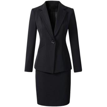 激情女郎 リクルートスーツ レディース スカートスーツ 就活 olスーツ ビジネススーツ パンツ 大きいサイズ セットスーツ ブラック(ジャケット+スカート) 日本サイズ S-2/タグサイズ M