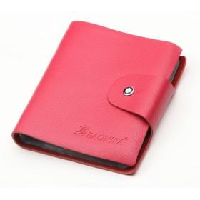 本革 カードケース 60ポケット(最大120枚収納可能)カラフルで大容量 名刺ケース 名刺入れ カード入れ 軽量 (ピンク)
