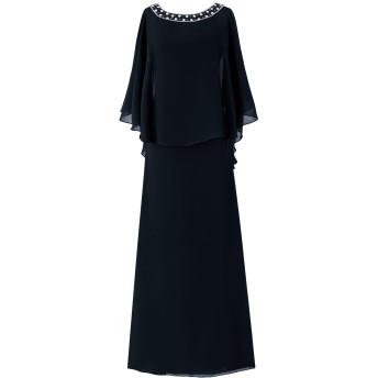 Dresstell(ドレステル) フォーマル 結婚式ドレス ドルマンスリーブ ビジュー付き ママのタイプ レディース ネイビー 7号