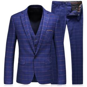 WEEN CHARM メンズスーツ セットアップ 3ピース スリム ビジネス 結婚式 チェック柄 紺色xs/m/l/xl/2xl
