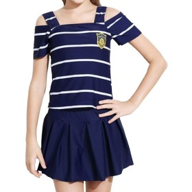 水着 女の子 子供 キッズスクール セパレート ストライプ 2点セット 可愛い ファッション キュート 半袖 (ネイビーストライプ, 135-145cm)