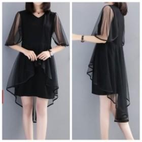 ワンピース ノースリーブ ミニ丈 シースルー パーティー  大きいサイズ 二次会 お呼ばれ 韓国 ドレス ブラック 黒