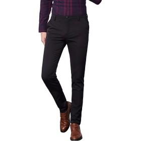 InnoBase ズボン スーツパンツ スラックス メンズ ストレッチ スリム スキニー ロングパンツ チノパン ウォッシャブル ノータック ボトムズ ビジネス カジュアル 通勤 美脚 細身 パンツ オールシーズン (SIZE:33, 9601ブラック)