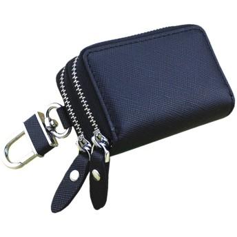 B-PING スマート キーケース メンズ レディース 革 レザー ダブル ファスナー カラビナ付き 2つ 鍵が同時収納 お祝い プレゼント (ブラック)