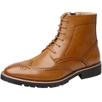 [WEWIN] ブーツ メンズ ビジネスシューズ 本革 マーティンブーツ ハイカット サイドジップ レースアップ 革靴 ウイングチップ ファッション 防滑