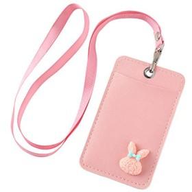 ANPHSIN パスケース -PU 定期入れ ストラップ付き パス入れ カードケース ICカードケース メンズ レディース 通勤 通学 可愛い (pink rabbit)