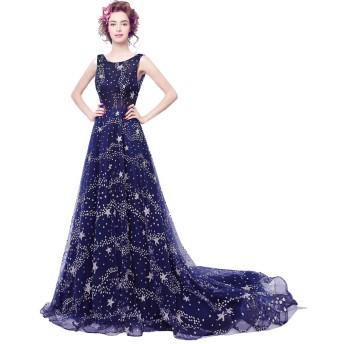 千恵モール ウェディングドレス 紺色 星空模様 キラキラ ロングトレーン イブニングドレス シンデレラドレス ステージドレス 舞台 撮影用 (XXXL, 紺色 ロングトレーン)