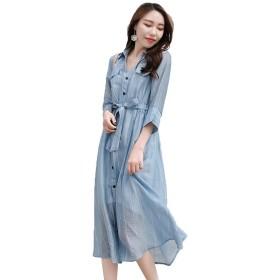 春の夏の新品 シャツのワンピース ブルー 身を修める 中長金 七分袖 シャツのスカート 婦人服 S-2XL (L