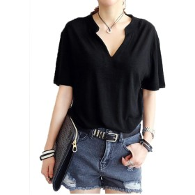 (ピンニヤ) Pinniya シンプル 無地 きれいめ ゆったり Vネック ロング丈 セクシー 半袖 レディース Tシャツ カットソー おしゃれ 大きいサイズ かわいい 黒 白 灰 3色 (XL, ブラック)