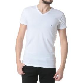(エンポリオアルマーニ) EMPORIO ARMANI 胸ロゴ Vネック 半袖 アンダーTシャツ [【EA110810CC735】] (1XL, ホワイト) [並行輸入品]