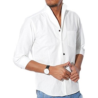 LUX STYLE(ラグスタイル) シャツ メンズ イタリアンカラー トップス 7分袖 綿 無地 ホワイトM