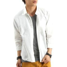 リネンコットン7分袖シャツ リネンシャツ 麻 七分 Mサイズ ホワイト