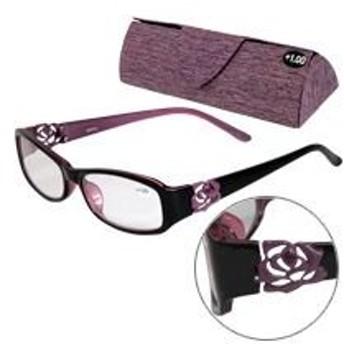 老眼鏡 バラ 柄 ローズ 606PU パープル リーディンググラス シニアグラス 男性用 女性用 おしゃれ 女性 弱度