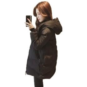 アイビエツ(AIBIETU) ダウンコート レディース ロング ダウンジャケット 秋冬 防寒 無地 フード付き ゆったり 厚手 中綿 ジャケット (L, ブラック)